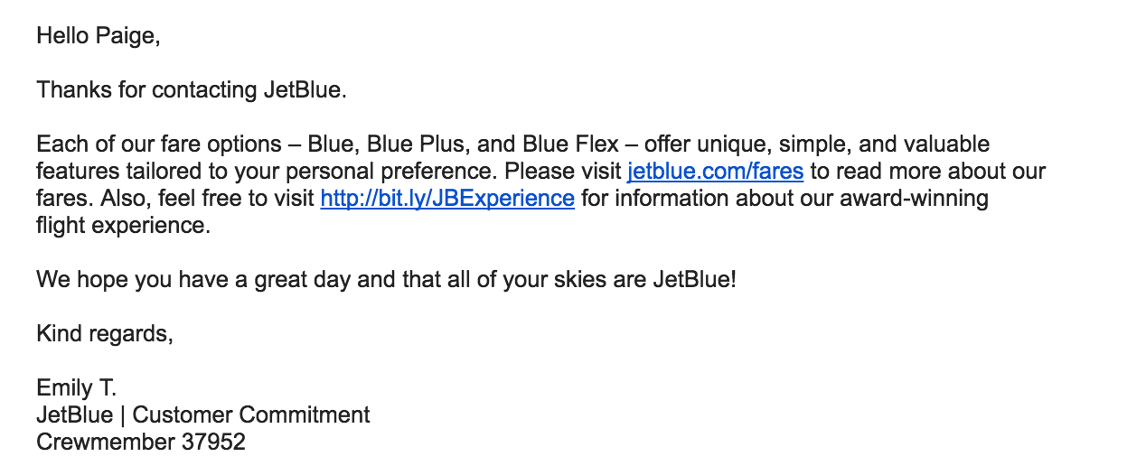 JetBlue airlines support response email