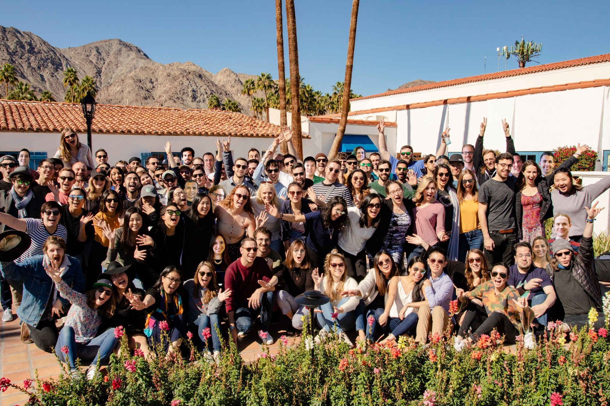 Front-eers at an offsite in Palm Springs in April 2019 for a week of ATV riding, team bonding, and customer service.